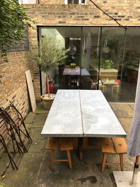Solid French oak outdoor dining table with Zinc overwintering protective top