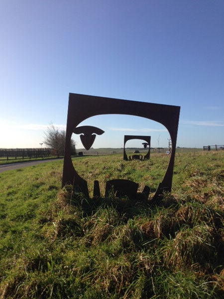 Steel 2-D sculpture of sheep created for Sheppdrove Farm by HB Studios, Somerset
