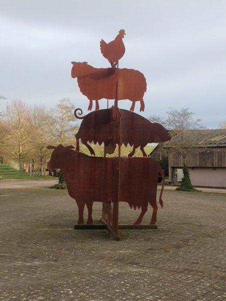 3-D metal sculpture for the center of the farmyard at Sheppdrove Farm, created by HB Studios - bespoke sculpture makers and commissions