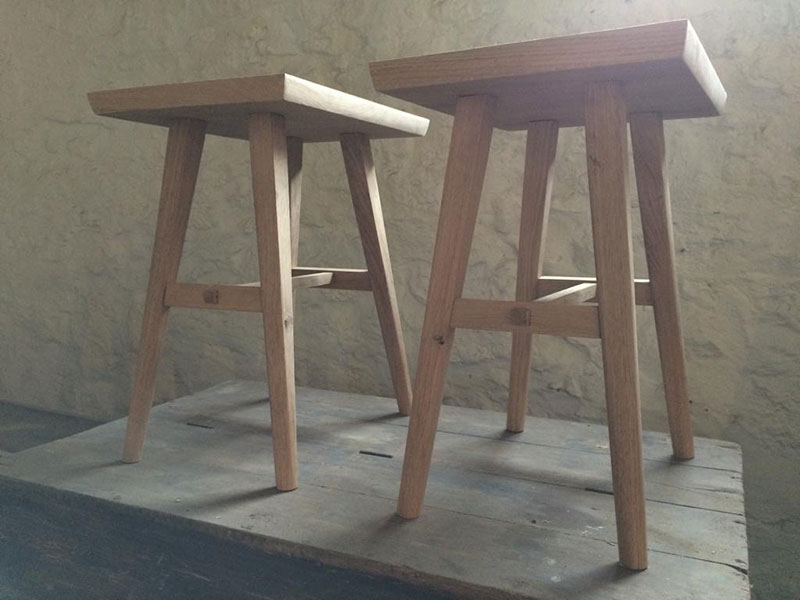 Bedside oak handmade stools in Somerset